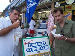 Bill and Jim eating fried Oreos