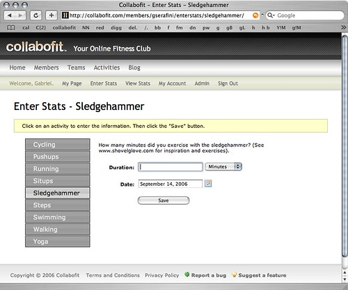 Collabofit enter stats page - Sledgehammer