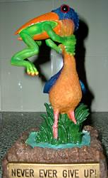 jabiru and frog