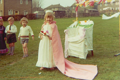 Me.  The May Queen.  At nursery.  I'm like 5 or something.