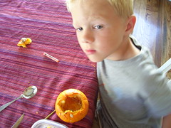 Pensive pumpkin man, Aiden.