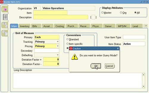 Oracle Form Personalization (Master Item 3)