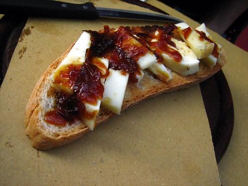 Crostini with Pecorino and Onion Jam