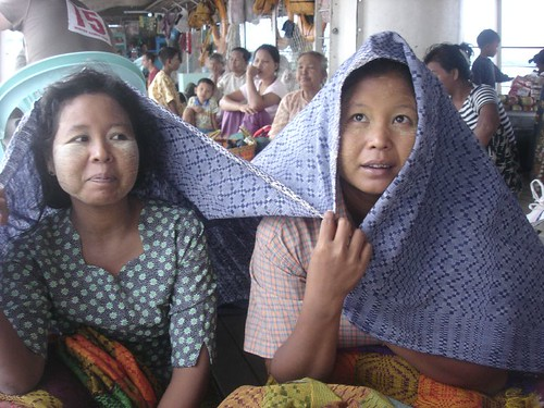 Blanket women on the boat from Mandalay to Burma