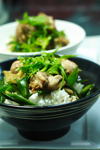 Stir-fry chicken with ginger and leek on organic basmati rice