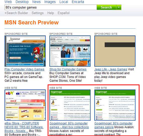 MSN Search mystery #2 - Preview feature on