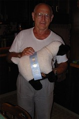 dad with fake sheep and real ribbon