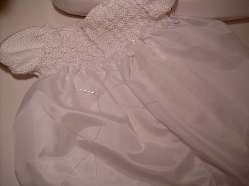 Sewing in Lining for Christening Gown