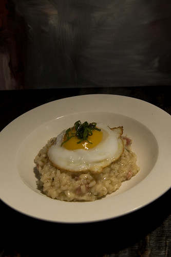 duck egg risotto