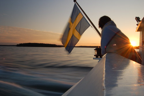 Swedish sunset on a boat