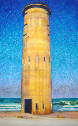Pastel drawing of World War II Observation Tower