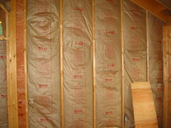 Insulation in gable walls.