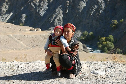 Kyrgyz woman and her baby...