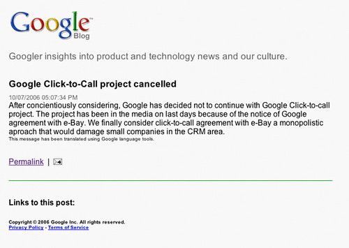 Google Click-to-Call project cancelled????