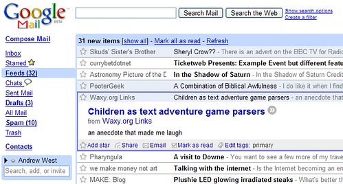 Integrating Google Reader into Gmail - Item