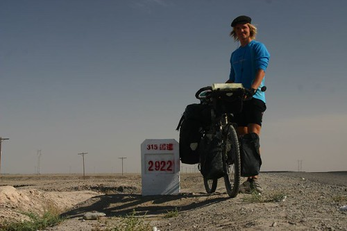 Desert cycling south of Kashgar, Xinjiang Province...