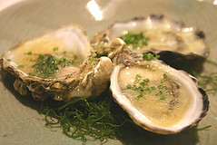 Pacific Oysters with rice vinegar and ginger