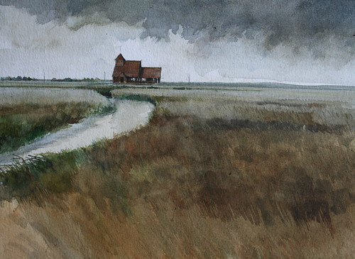 St Thomas a Becket Church, Fairfield, Romney Marsh, Kent (Watercolour)