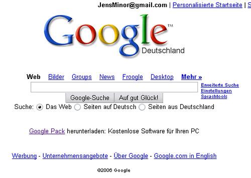 Google-Startseite mit Pack-Werbung