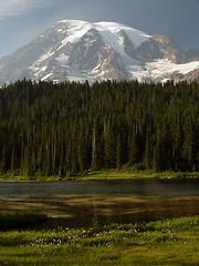 Hazy Mount Rainier at Reflection Lake
