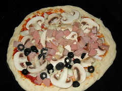 Mushrooms, ham and olives
