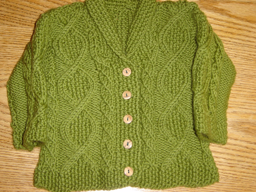 Trellis knitting baby sweater