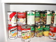 cans in pantry