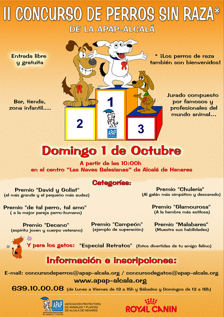 Cartel del II Concurso de perros sin raza APAP Alcalá
