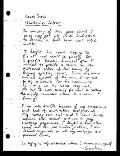Hardship Letter Example For Deed In Lieu