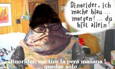 Master Vos the Hutt annoys Dinorider