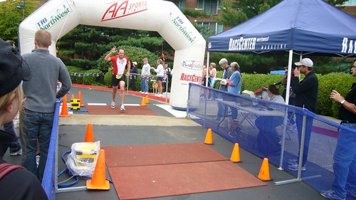Crossing the finish line. I'm tired.