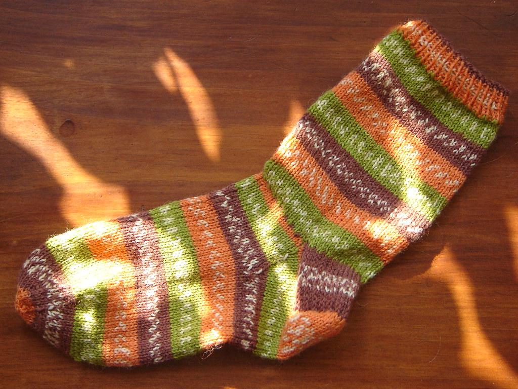 Autumn sock in the sunlight