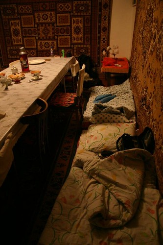 Beds are all ready after a late night arrival in Kochkor...