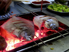 Jing fish grilling at Korean barbecue - Shangzhi