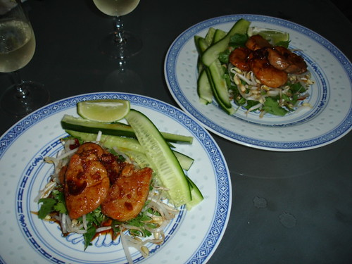 Chilli caramelised pork on cucumber salad