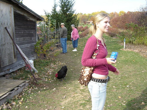 Emily & the rooster.