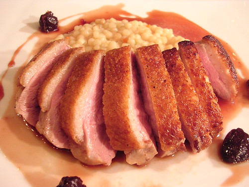 Seared Duck Breast, Fregola Sarda, Cherry Gastrique