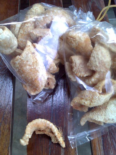 Pork rinds with hair still on them