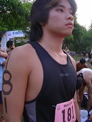 Dank (looking quite plump) at the Singapore Biathlon 2005
