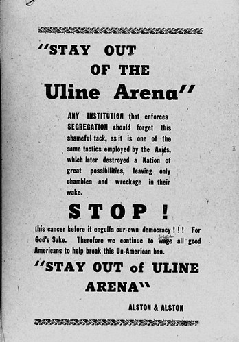 Protest Flyer, Integration Campaign, Uline Arena, Washington DC (1942?)