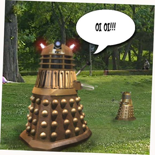 Dalek in park with boy