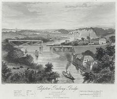 Pont reilffordd Cas-gwent ca. 1850 - Llyfrgell Genedlaethol Cymru