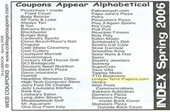 Coupon book table of contents