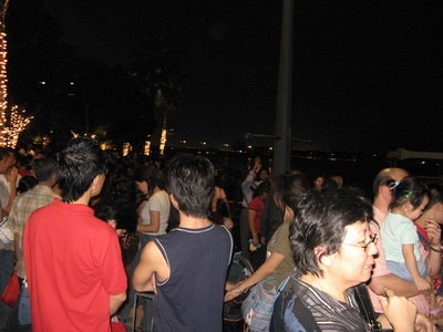 Throngs of People at Marina Bay