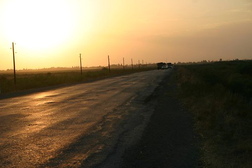 Pleasant evening drive across the Azeri flatlands...