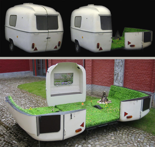 kevin van braak, caravan, urban intervention, park, mobile, green design