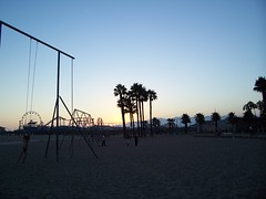 Santa Monica beach at twilight