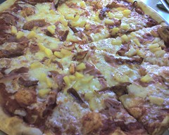 Hawaiian pizza from La Pizza with bacon