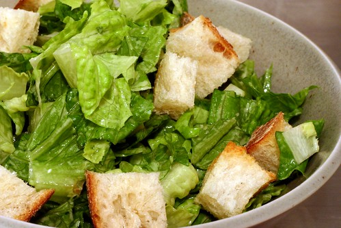 caesar salad with garlic-rubbed croutons