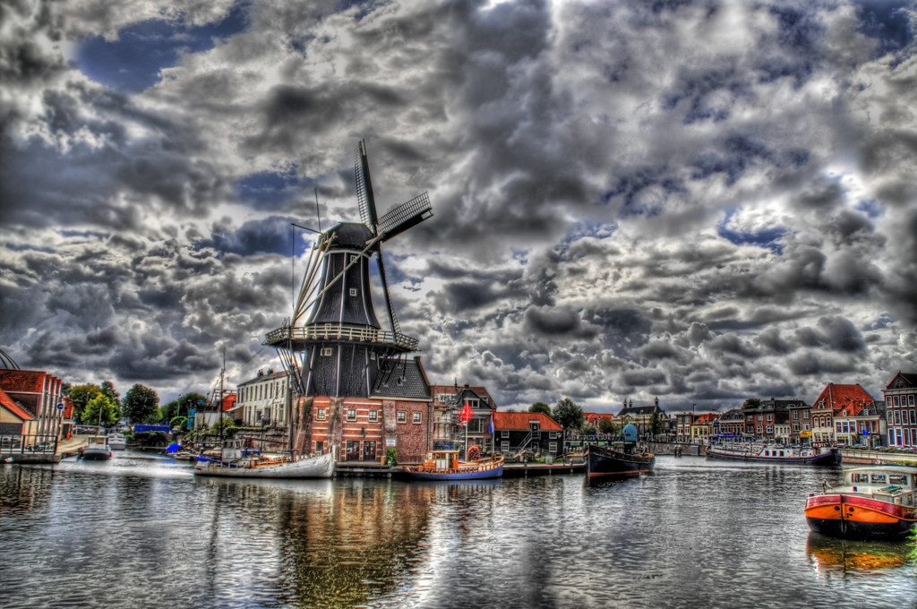 Windmill on a Cloudy Canal